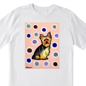 """POP Art- """"Yorky with Polka Dots and Pink"""" - 100% Cotton T-Shirt for Men, Women & Youth by A.V.Apostle"""