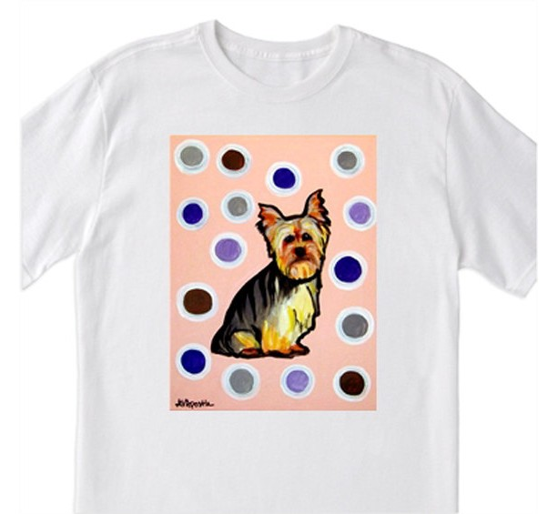 "POP Art- ""Yorky with Polka Dots and Pink"" - 100% Cotton T-Shirt for Men, Women & Youth by A.V.Apostle"