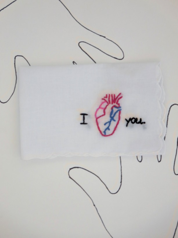 Embroidered Anatomical Heart Handkerchief By Wrenbirdarts Aftcra