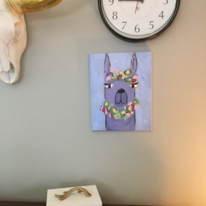 Purple Llama acrylic painting on canvas- free shipping
