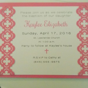 """Hand-cut Layered Invitation in """"cross"""" Style-Pack of 10-Perfect for Showers, Weddings, Sweet 16, Birthday, etc. Several Colors Available"""
