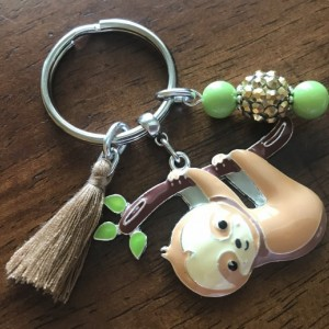 Sloth Keychain, Bohemian Keychain, Key Ring, Bohemian, Sloth Keyring, Car Accessories, Gift For Her, Ready To Ship, Bag Clip, Rearview Charm