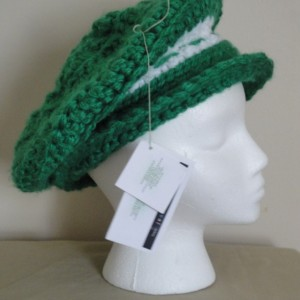 "Stunning Green and white Crocheted Beret-""Dreaming of Ireland Beret"", Elegant Green and White Crocheted Hat-""Dreaming of Ireland"""