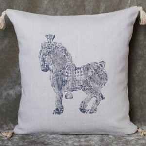 """16"""" x 16"""" Percheron Horse Pillow! Decorative hand stamped grey horse canvas pillow cover with tassels"""