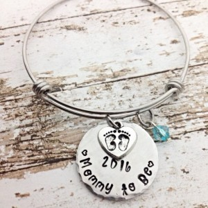 Mothers day gift, mommy to be, mommy bracelet, bangle bracelet, hand stamped jewelry, personalized bracelet, pregnancy announcement gift