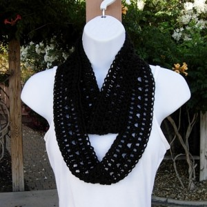 Women's Solid Black Lacy SUMMER INFINITY SCARF Small Cowl, Extra Soft Skinny Lightweight Crochet Knit Endless Loop, Lace Neck Tie..Ready to Ship in 3 days