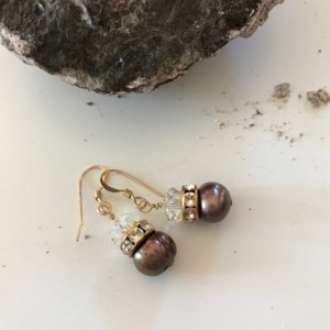 Super Sparkle Chocolate Pearl Earrings