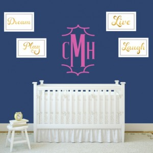 Chinoiserie Style Monogram Wall Decal Style 1