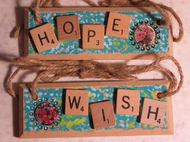 Set of 2 Scrabble® Game Tile Wooden Plaques Hope & Wish