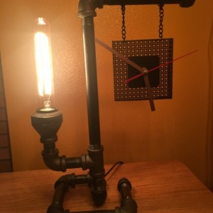 Industrial Table Lamp w/ Clock - FREE SHIPPING