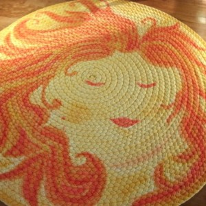 "50"" Sun Lady rug created from natural USA organic cotton"