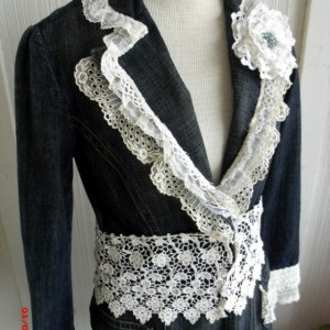 Recycled Denim Jacket Vintage Laces Romantic Shabby Style Fitted Blue White Embellishments Size Small/Medium