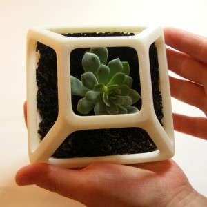 3D Printed Prism Planter, Square Flower Pot, Geometric Terrarium, Succulent Planter, Geodesic Container, Math Art, Polyhedra