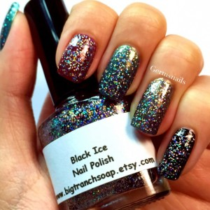 "Nail Polish - Holographic Micro Glitter - ""Black Ice"" - Hand Blended - 0.5 oz Full Sized Bottle"