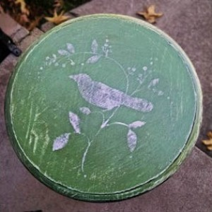 Green Distressed Side Table w/Perching Bird Detail