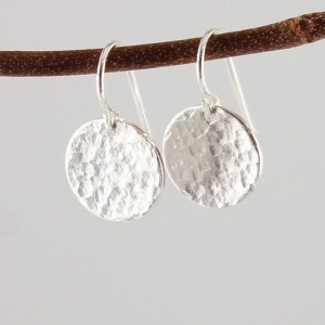 Handmade sterling silver earrings, hammered disc earring,  simple earrings
