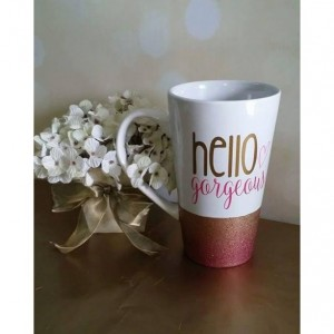 Hello Gorgeous / Tall Coffee Mug / Ombre Glitter Dipped / Pink & Gold