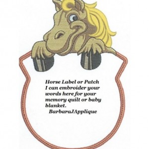 Horse Quilt Label - free shipping on labels