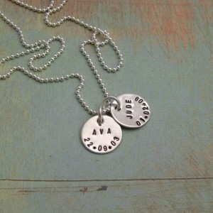 Personalized Sterling Silver Jewelry - Hand Stamped Necklace - Sterling Silver Mommy Necklace - Jewelry by Tiny Tokens