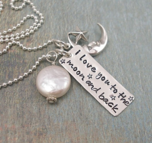Hand Stamped Necklace - Personalized Necklace - Mothers Necklace - I Love You to the Moon and Back