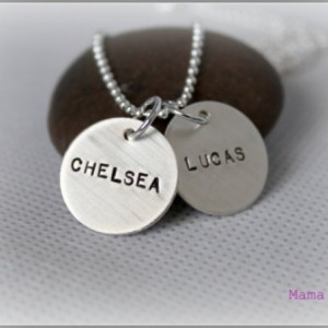 Two-Disc Sterling Silver Hand Stamped Necklace