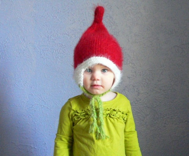 Kids Elf Winter Pixie toddler Hat with Strings  Winter hats for Children