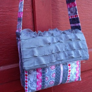 Pink and Gray Messenger Bag with Ruffled Flap
