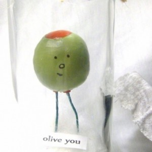 olive you / clay miniature in recycled glass jar