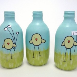 spring chickens / set of three / hand painted recycled glass bottles
