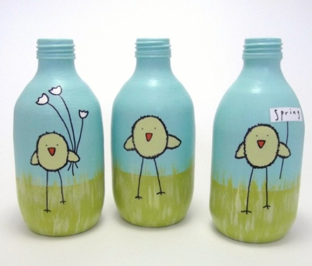 Spring chickens set of three hand painted recycled for Hand painted glass bottles