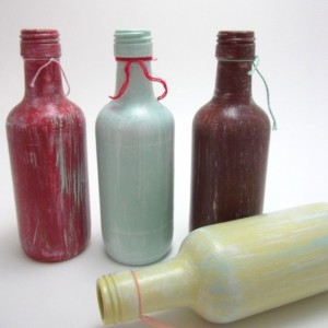 weathered  hand painted recycled glass bottles / set of four