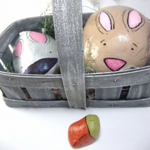 basket of bunnies & carrot / painted rocks set