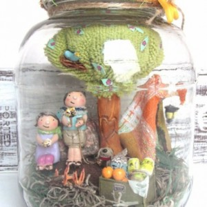 camping for two / sweet preserves glass jar with clay miniatures