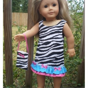 "American Girl Doll Dress, American Girl Doll purse, Zebra pink turquoise Dress, American Girl Doll Clothes, handmade 18"" doll clothes"