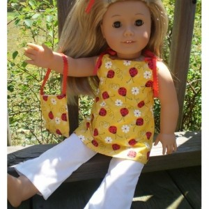 "American Girl Doll Clothes, Pants Purse Shirt, Ladybug and White, American Girl Doll Pants, 18"" Doll Pant and Purse, Handmade Doll Clothes"