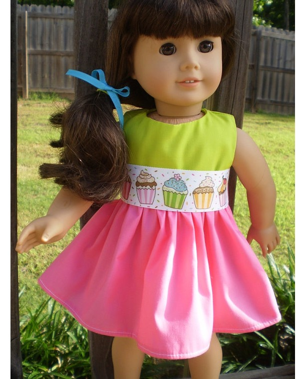 American Girl Doll Clothes, Doll Birthday dress, Bitty Baby Birthday Dress, Pink Limegreen doll dress, Ready to Ship, Handmade Doll Clothes