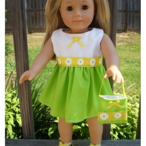 "American Girl Doll Dress, 18"" Doll Dress and 18"" Doll Purse, Limegreen and Yellow Doll Dress, 18"" Doll green Dress, Doll Dress and purse"
