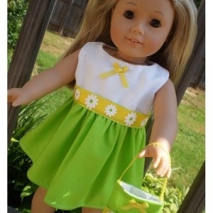 """American Girl Doll Dress, 18"""" Doll Dress and 18"""" Doll Purse, Limegreen and Yellow Doll Dress, 18"""" Doll green Dress, Doll Dress and purse"""