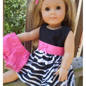 American Girl Doll Dress, American Girl Doll Underwear, Zebra Pink Doll Dress, Bitty Baby doll dress, handmade doll clothes, Ready To Ship