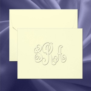 Traditional Monogram Embossed Folded Note Cards(RT07A)
