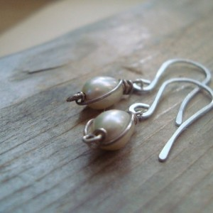 Tiny Wire Wrapped Pearl Earrings