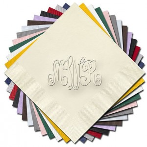 Monogram Embossed Cocktail/Beverage Napkins - (RT14A) - Script Monogram Napkins