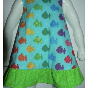 Rainbow Fish Infant 6-12 months Reversible Dress, Jumper or Sundress in Aqua and green