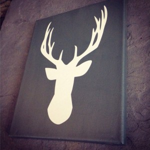 Deer Silhouette Painted Canvas Sign