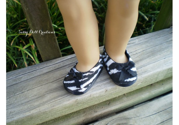 "American Girl Doll Shoes & Underwear, 18"" Doll Zebra Shoes, American Girl Doll Zebra Shoes, AG doll Shoes, Ready to Ship shoes, Handmade Doll Shoes"