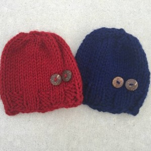 knit hat with buttons - baby