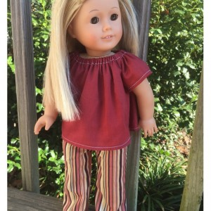 "American Girl Doll Clothes, Striped Doll Pants, American Girl Doll Pants, 18"" Burgandy Doll Shirt, Handmade Doll Clothes"