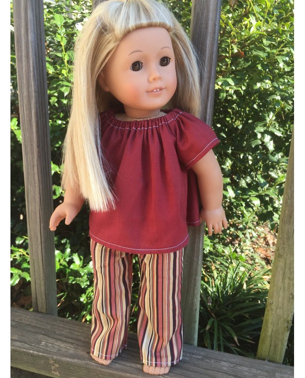 """American Girl Doll Clothes, Striped Doll Pants, American Girl Doll Pants, 18"""" Burgandy Doll Shirt, Handmade Doll Clothes"""