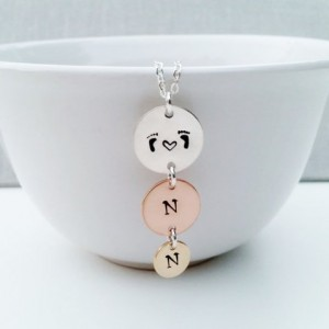 Family Necklace with Three Hand Stamped Initial Disc Pendant; Sterling Silver, 14k Gold Filled & 14k Rose Gold Filled Jewelry Gift Idea for Her,