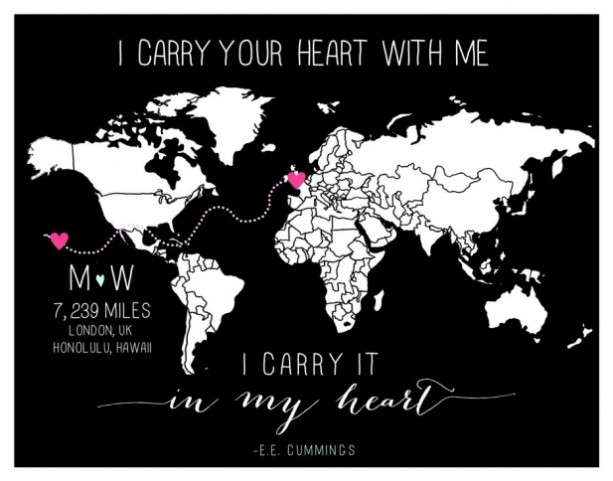 CUSTOM Long Distance Relationship Love World Map Print With Miles - Map your distance